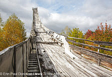 Nansen Ski Jump in Milan New Hampshire USA. This jump is 170 feet long and was constructed in 1936. In 1938, Olympic Trials were held here. The jump was closed in 1988.