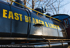 Porter 50 ton saddle tank engine locomotive on display at Loon Mountain along the Kancamagus Highway in Lincoln, New Hampshire USA.