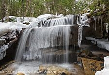 A small cascade along the Kancamagus Highway in the White Mountain National Forest of New Hampshire USA during the spring months