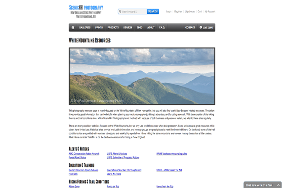 Click here to be taken to the White Mountains, New Hampshire Resource Page