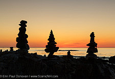 Rock people at sunrise in Rye, New Hampshire USA during the spring months