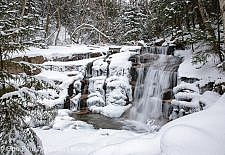 Franconia Notch State Park - Stair Falls in the White Mountains, New Hampshire USA. This waterfall is located along the Falling Waters Trail