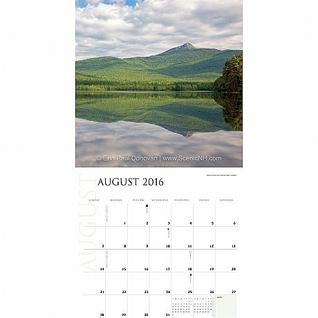 2016 New Hampshire Calendar August