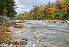 East Branch of the Pemigewasset River near the Lincoln Woods Trailhead during the autumn months in Lincoln, New Hampshire USA