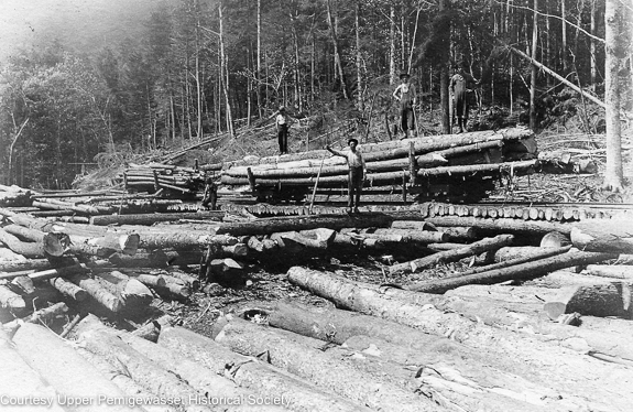 The EB&L Railroad was a standard gauge railroad, but in 1901 J.E. Henry and Sons attempted to use a narrow gauge line at Camp 8 to harvest timber from the slopes of Whaleback Mountain. This roughly 1.25 mile +/- long line, consisting of a series of switchbacks, traveled into the Osseo Brook drainage. It lasted only for a few years and was discontinued after a brakeman was killed when a loaded log car ran out control down the track.