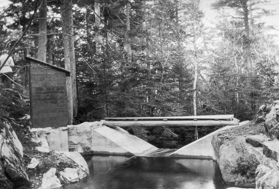 In 1911-1912, the United States Geological Survey built a number of stream gauging stations in the White Mountains to determine the effects of deforestation on stream flow. Courtesy National Archives & Records Administration.