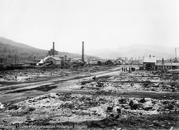 Aftermath of the May 13, 1907 fire in Lincoln, New Hampshire. The fire destroyed a number of buildings on both sides of Main Street in Lincoln village.